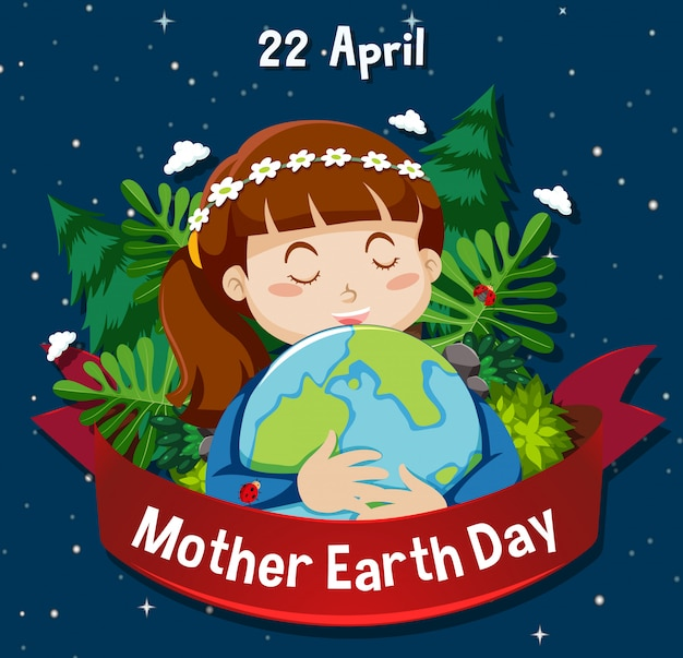 Poster design for mother earth day with girl hugging earth in background Free Vector