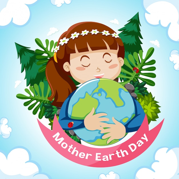 Poster design for mother earth day with girl hugging earth Free Vector