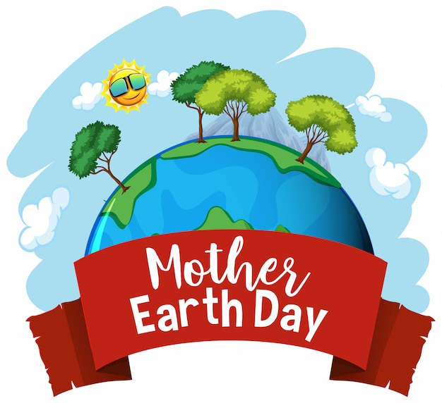 Poster design for mother earth day with many trees on earth Free Vector