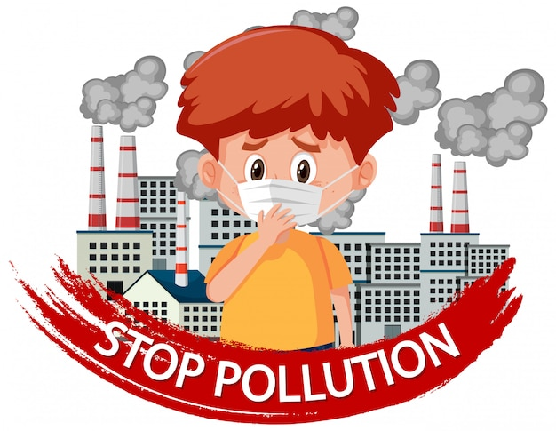 Poster design for stop pollution with boy wearing mask Premium Vector