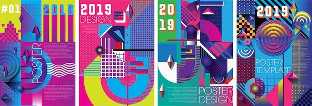 Poster design template 90s style Premium Vector