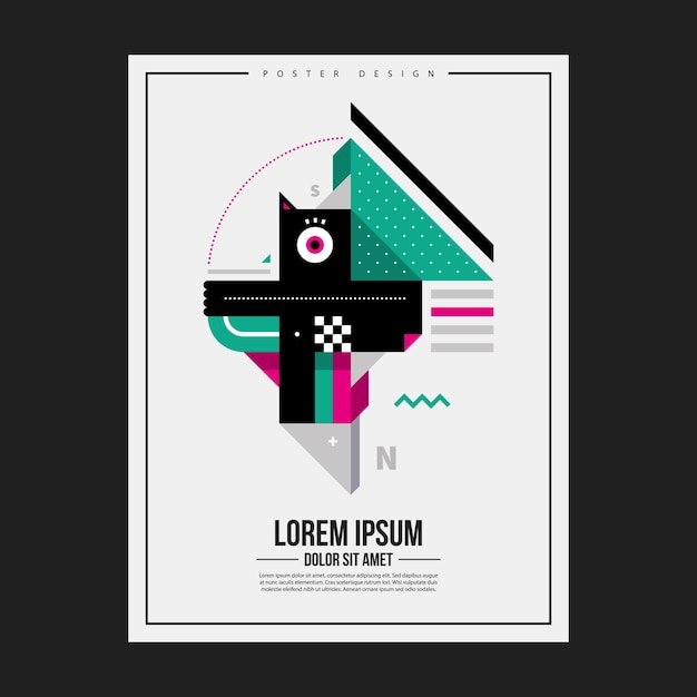 Poster design template with abstract geometric creature. Useful for advertising. Premium Vector
