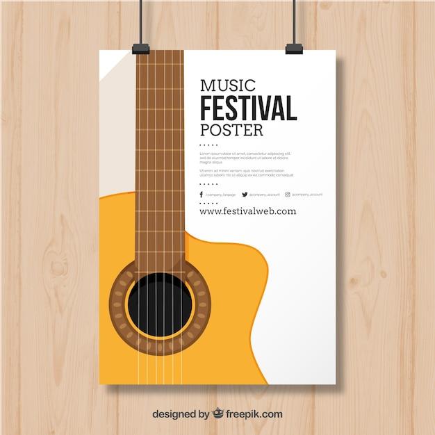 Дизайн плаката с гитарой для музыкального фестиваля Бесплатные векторы