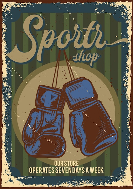 Poster design with illustration of advertising of sports store Free Vector