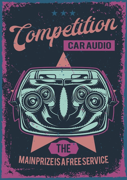 Poster design with illustration of car audion system Free Vector