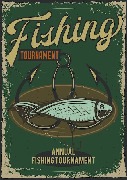 Poster design with illustration of a fish and a hook Free Vector