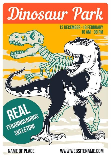 恐竜とその骨格のイラストを使用したポスターデザイン 無料ベクター