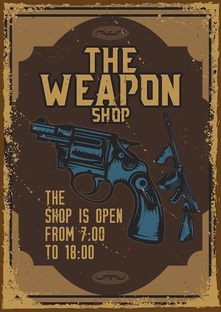 Дизайн плаката с изображением пистолета Бесплатные векторы