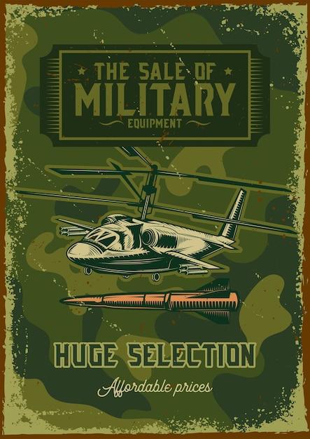 軍用ヘリコプターのイラストとポスターデザイン 無料ベクター