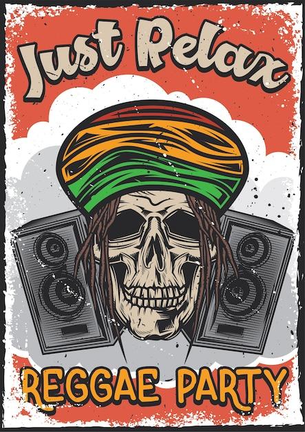 ラスタの頭蓋骨のイラストとポスターデザイン 無料ベクター