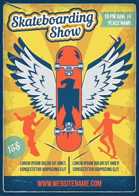 Дизайн плаката с иллюстрацией скейтборда с крыльями и силуэтами людей со скейтбордами. Бесплатные векторы