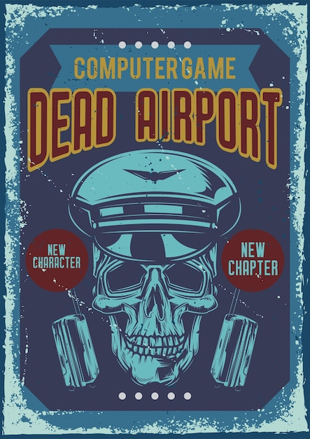 頭蓋骨パイロットのイラストとポスターデザイン 無料ベクター