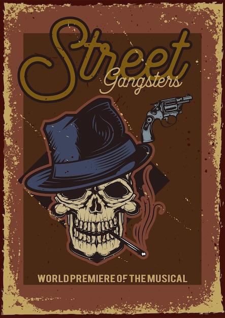 모자와 담배와 두개골의 일러스트와 함께 포스터 디자인 무료 벡터