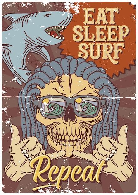 サメ、頭蓋骨、手ジェスチャーのイラストポスターデザイン Premiumベクター