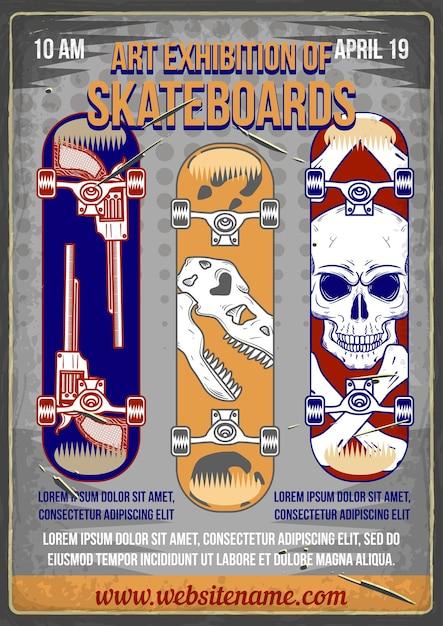 さまざまなプリントが施されたスケートボードのイラストを使用したポスターデザイン。 無料ベクター