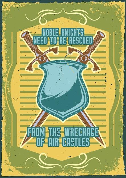 刀と盾のイラストが描かれたポスターデザイン 無料ベクター