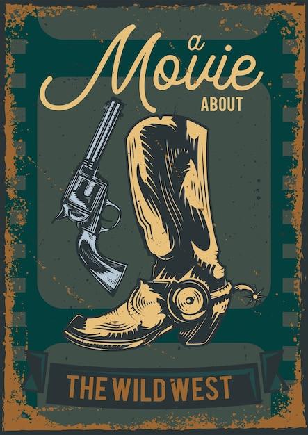 총을 가진 카우보이 부츠의 일러스트와 함께 포스터 디자인 무료 벡터