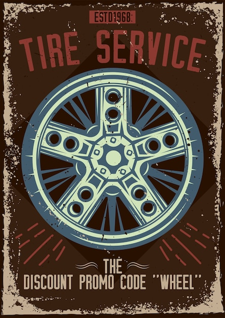 Poster design with illustration of a tire service Free Vector