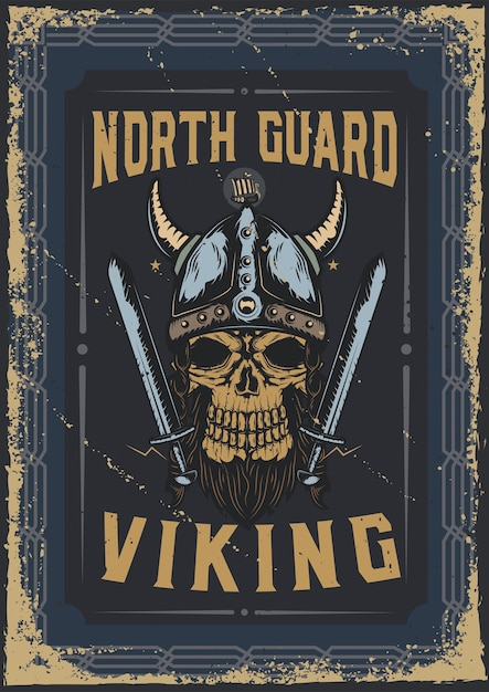 Poster design with illustration of a viking's skull with a helmet Free Vector