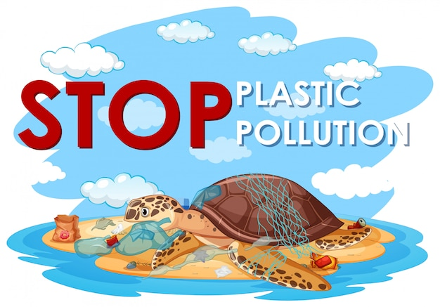 Poster design with sea turtle and plastic bags on beach Free Vector