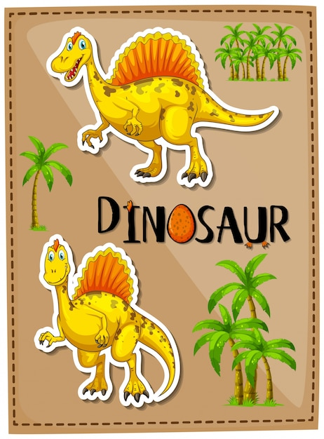 Poster design with two spinosaurus Free Vector