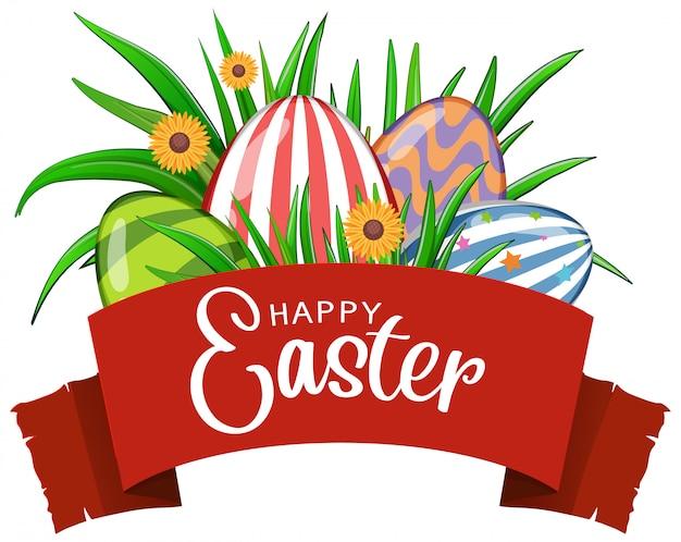 Poster per pasqua con uova e fiori decorati Vettore gratuito