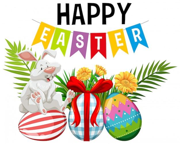 Manifesto per pasqua con il coniglietto di pasqua e le uova decorate Vettore gratuito