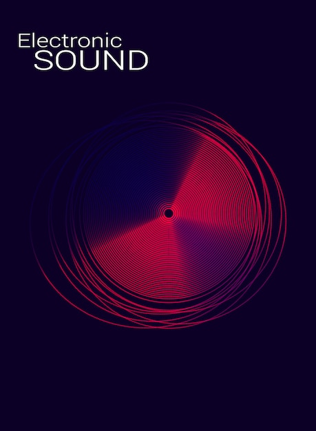 Poster electronic music with the disc. Premium Vector