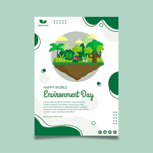 Poster environment day template Free Vector
