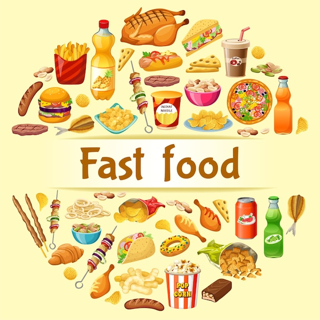 Poster fast food. Free Vector