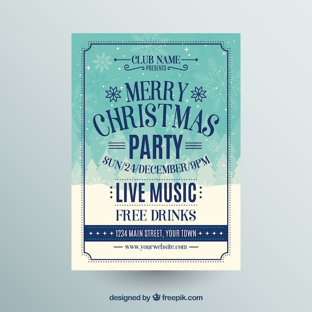 Poster for a christmas party with live music and free drinks