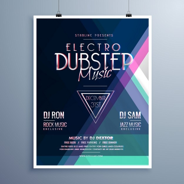poster for a party with dubstep music vector free download