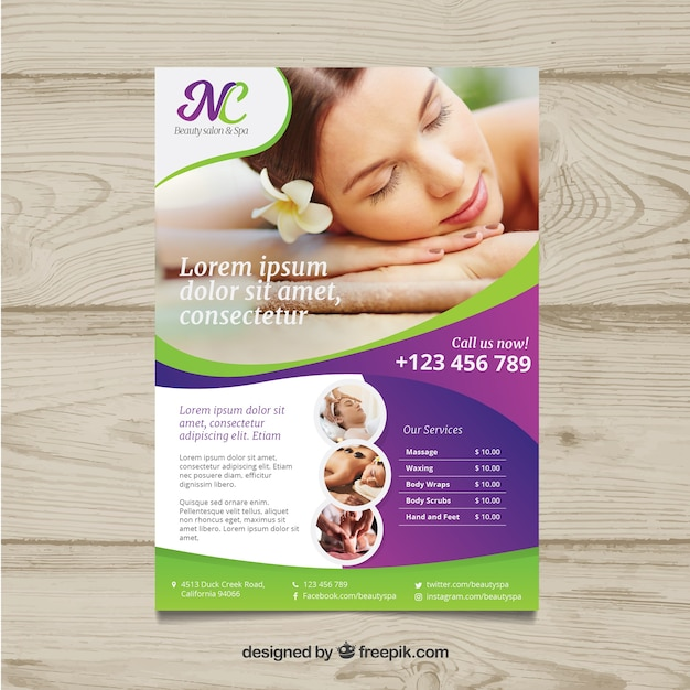Poster for a spa center with a photo Free Vector