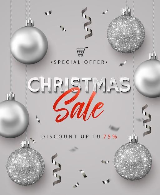 クリスマスセールのポスター。 Premiumベクター