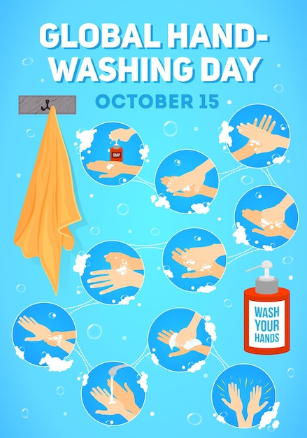 Poster for global handwashing day.  infographic. hands washing medical instructions. soap bottle and towel. flat vector icons. Premium Vector