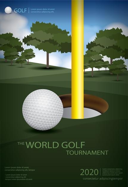 Poster golf champion template design illustration Free Vector