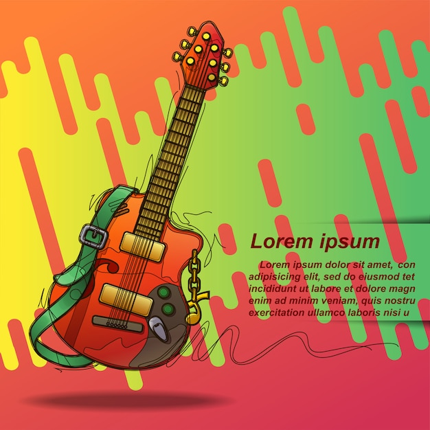 Poster guitar in sketching style and text. Premium Vector