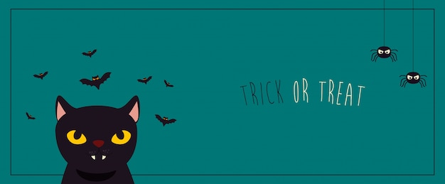Poster halloween with cat black and bats flying Free Vector