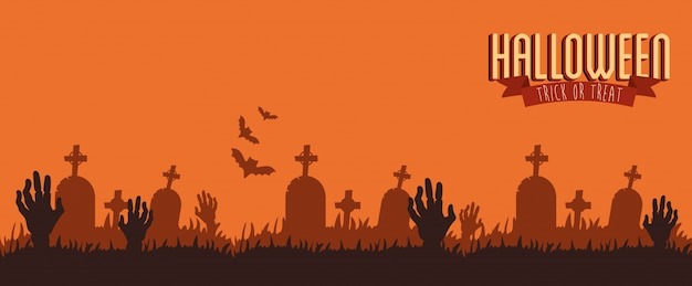 Poster halloween with hands zombie in cemetery Free Vector