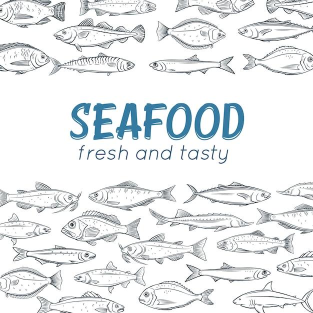 ポスター手描き魚 Premiumベクター