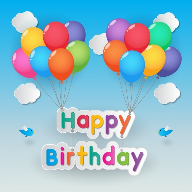 poster happy birthday with balloons vector free download