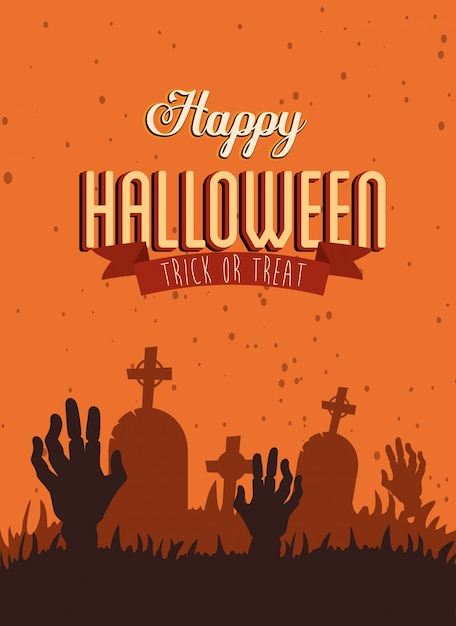 Poster happy halloween with hands zombie in cemetery Free Vector