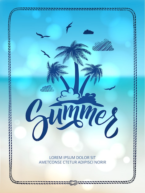 Poster of happy summer time. postcard decoration with hand drawn letters and words. Premium Vector