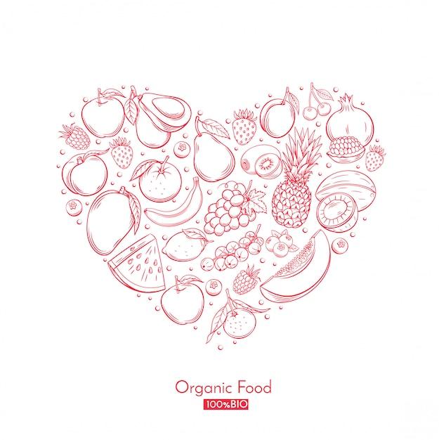 Постер с сердечками из рисованной фруктов Premium векторы