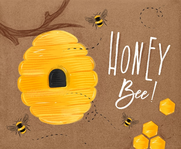 Poster illustrated bee hive, honeycombs lettering honey bee drawing on craft Premium Vector