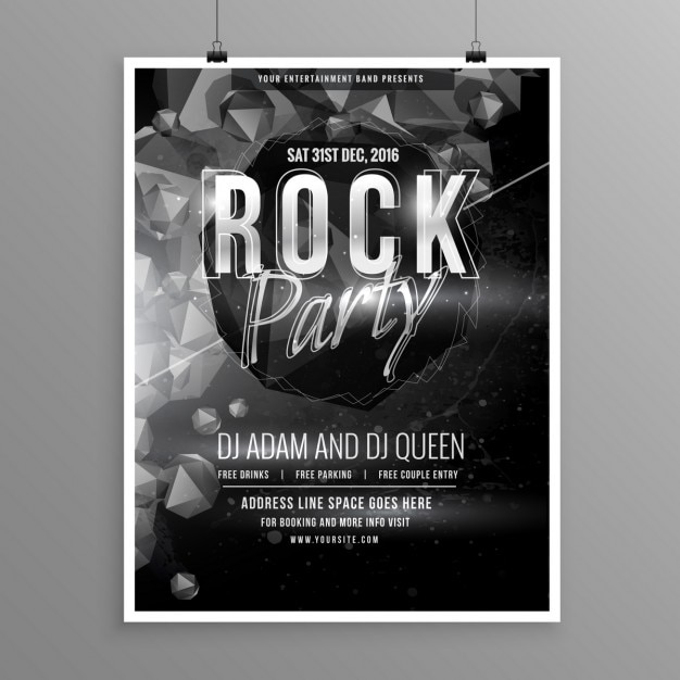 Poster in black and white for a rock party free vector
