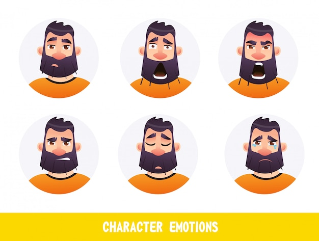 Poster inscription character emotions cartoon flat Premium Vector