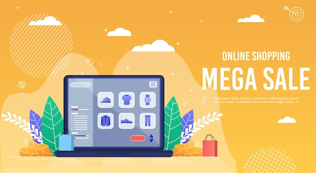 Poster inscription online shopping mega sale. Premium Vector