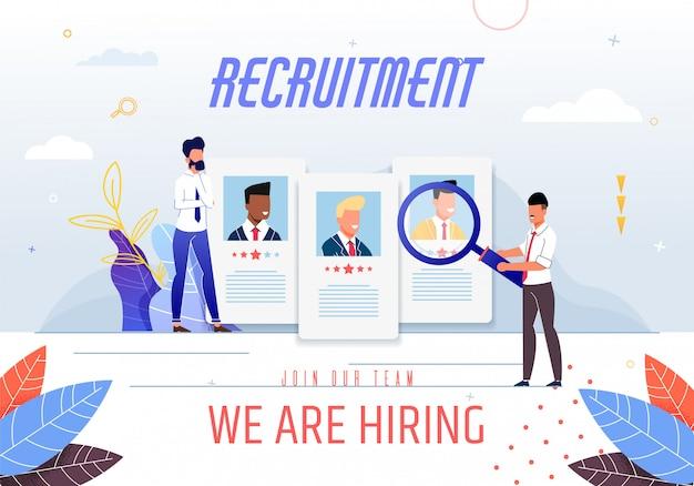 Poster inscription recruitment we are hiring. Premium Vector