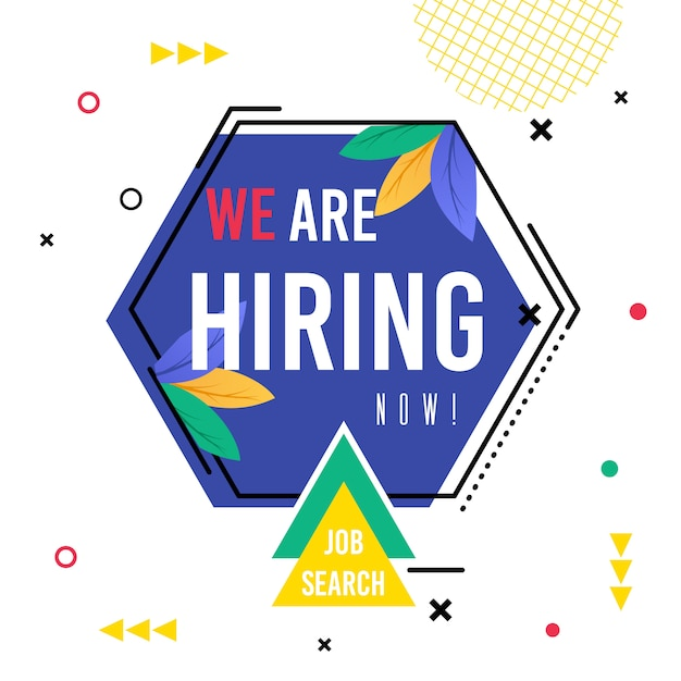 Poster inscription we are hiring now job search. Premium Vector